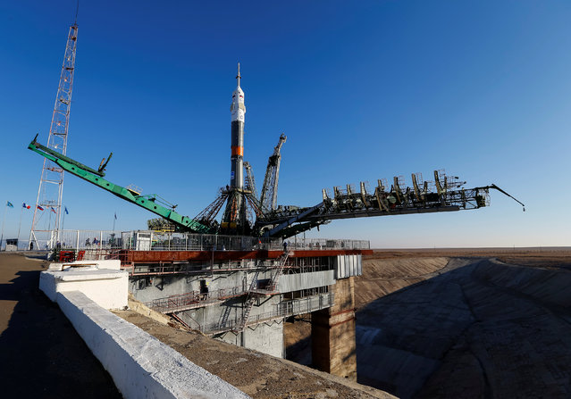 The Soyuz MS-03 spacecraft for the next International Space Station (ISS) crew of Peggy Whitson of the U.S., Oleg Novitskiy of Russia and Thomas Pesquet of France, is set on the launchpad ahead of its upcoming launch, at the Baikonur cosmodrome in Kazakhstan, November 14, 2016. (Photo by Shamil Zhumatov/Reuters)