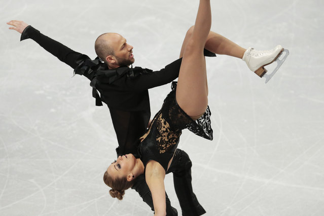 Nelli Zhiganshina and Alexander Gazsi, of Germany, skate during their free dance during the European Figure Skating championships in Stockholm, Sweden, on Thursday, January 29, 2015. (Photo by Ivan Sekretarev/AP Photo)