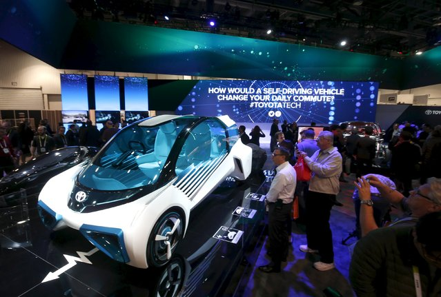 A Toyota FCV Plus, a hydrogen fuel-cell concept car, is displayed during the 2016 CES trade show in Las Vegas, Nevada January 6, 2016. (Photo by Steve Marcus/Reuters)