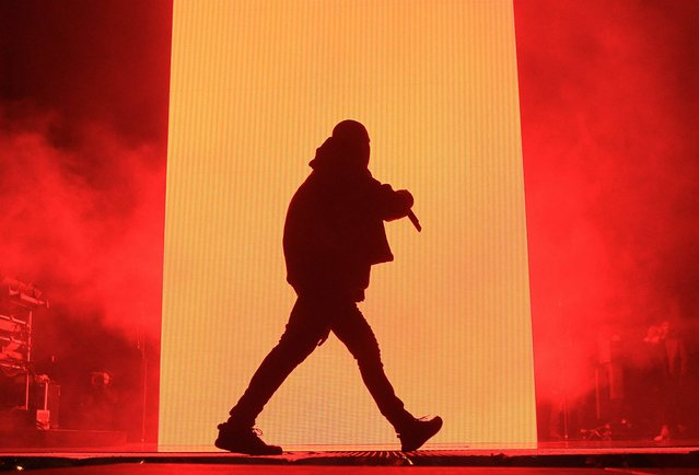 This image released by Starpix shows Kanye West performs at the first annual Roc City Classic in New York's Flatiron District on Thursday, February 12, 2015. (Photo by Dave Allocca/AP Photo/Starpix)