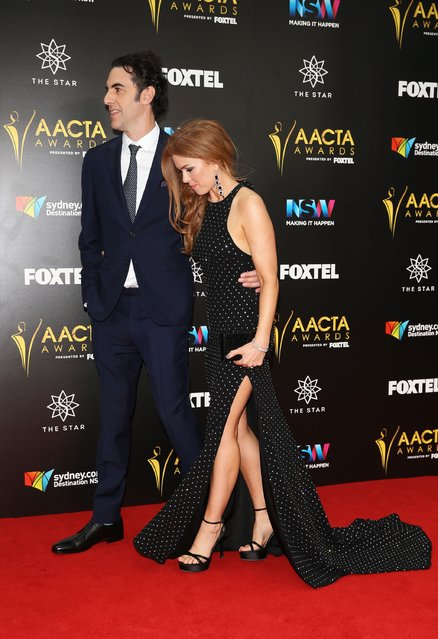 Sacha Baron Cohen and Isla Fisher arrive ahead of the 6th AACTA Awards Presented by Foxtel at The Star on December 7, 2016 in Sydney, Australia. (Photo by Caroline McCredie/Getty Images for AFI)