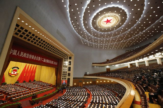 A general view of the interior of the Great Hall of the People is seen during the opening session of the Chinese People's Political Consultative Conference (CPPCC) in Beijing, March 3, 2015. REUTERS/Barry Huang