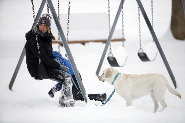 A woman sits on a swing set with her dog during a break in a winter storm, at a park in Boulder, Colo., Thursday, January 5, 2017. A winter storm has dropped several feet of snow in the Colorado high country, and over a foot in Front Range communities. (Photo by Brennan Linsley/AP Photo)