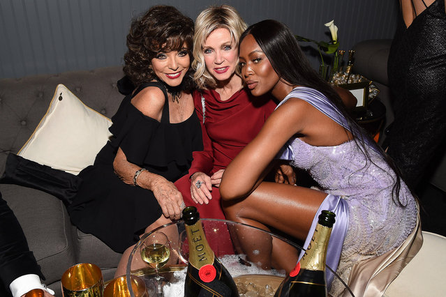 Joan Collins, Donna Mills and Naomi Campbell attend The Weinstein Company and Netflix Golden Globe Party, presented with Moet & Chandon at The Beverly Hilton Hotel on January 8, 2017 in Beverly Hills, California. (Photo by Michael Kovac/Getty Images for Moet & Chandon )