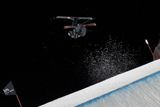 Fabian Boesch, of Switzerland, soars over the jump in the men's big air at the freestyle ski and snowboard world championships Saturday, February 2, 2019, Park City, Utah. (Photo by Tyler Tate/AP Photo)