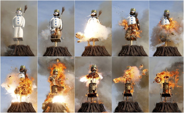 """A combination of pictures shows the Boeoegg, a snowman made of wadding and filled with firecrackers, burning atop a bonfire in the Sechselaeuten square in Zurich April 13, 2015. As the bells of St. Peter's church chime six o'clock, the bonfire below the """"Boeoegg"""" is set alight and mounted guildsmen gallop around the pyre to the tune of the Sechselaeuten March. The faster the head of the """"Boeoegg"""", the symbol of winter, catches fire and explodes, the warmer and more beautiful the summer will be. (Photo by Arnd Wiegmann/Reuters)"""
