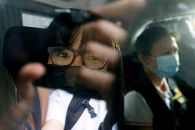 Hong Kong Alliance in Support of Patriotic Democratic Movements of China Vice-Chairwoman Tonyee Chow Hang-tung is seen inside a vehicle after being detained in Hong Kong, China, September 8, 2021. (Photo by Tyrone Siu/Reuters)