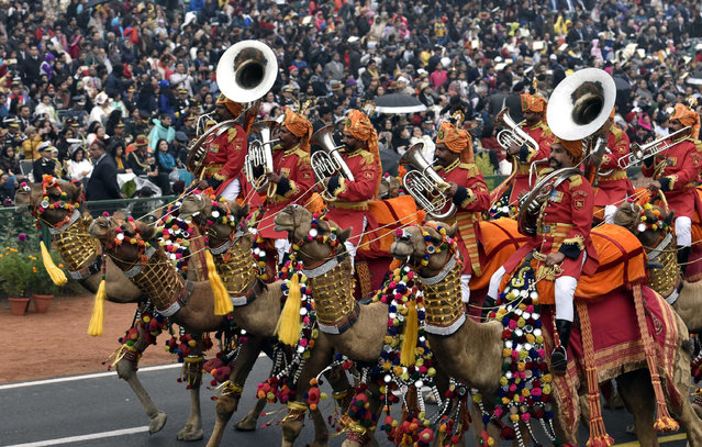 BSF Camel Band passing march during the celebration of 68th Republic Day at Rajpath, on January 26, 2017 in New Delhi, India. India celebrates its 68th Republic Day with Abu Dhabi Crown Prince Mohammed bin Zayed Al Nahyan as the chief guest at the annual parade. Tableaux from 17 states and Union Territories and six central ministries and departments showcased the varied historical, art and cultural heritage of the country. (Photo by Mohd Zakir/Hindustan Times via Getty Images)