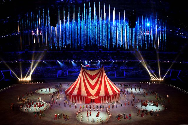 The magic of circus is performed during the closing ceremony. (Photo by Matthew Stockman/Getty Images)