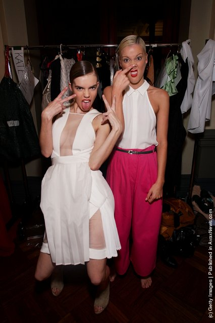 Models pose backstage ahead of the Review of Australian Fashion Week