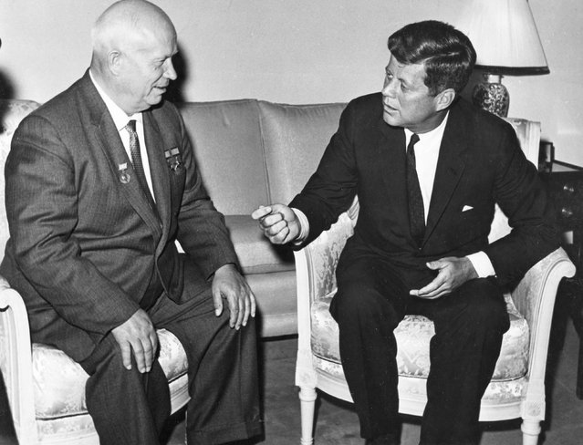 Former United States President John F. Kennedy (R) meets with Nikita Khrushchev, former chairman of the council of Ministers of the Soviet Union, at the U.S. Embassy residence in Vienna, Austria in this June 1961 handout image. November 22, 2013 will mark the 50th anniversary of the assassination of President Kennedy. (Photo by Evelyn Lincoln/Reuters/The White House/John F. Kennedy Presidential Library)