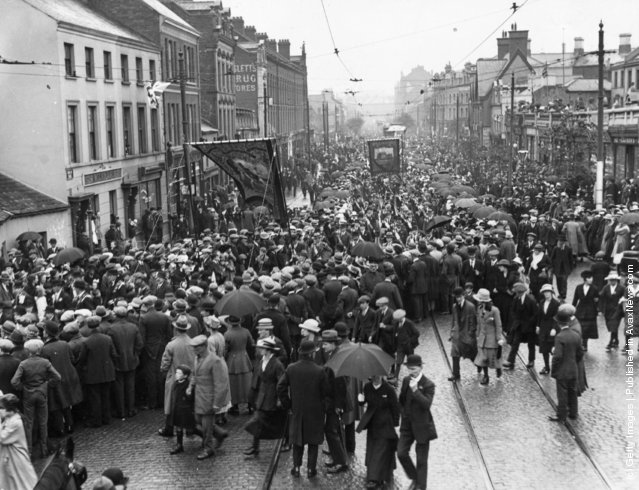1920: Members of the Protestant Orange Order march through Shaftesbury Square in Belfast