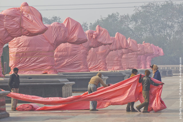 Elephant Statues Of BSP Party Symbol Covered Ahead Of State Elections In India