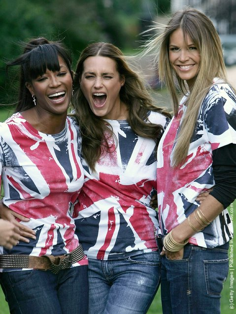 Naomi Campbell, Yasmin Le Bon and Elle Macpherson laugh as they pose for the camera's as they promote 'Fashion For Relief' held at the Rotary Club