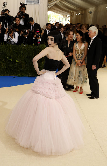 """Actress Lily Collins attends """"Rei Kawakubo/Comme des Garcons: Art Of The In-Between"""" Costume Institute Gala – Arrivals at Metropolitan Museum of Art on May 1, 2017 in New York City. (Photo by Lucas Jackson/Reuters)"""