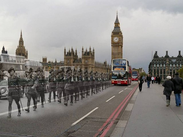Aussie Troops march over Westminster Bridge, London, date unknown. (Photo by Adam Surrey)