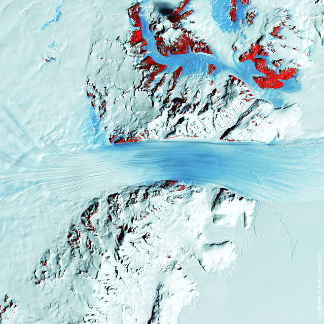Truly a river of ice, Antarctica's relatively fast-moving Byrd Glacier courses through the Transantarctic Mountains at a rate of half a mile (0.8 kilometers) per year