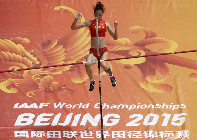 Li Ling of China competes in the women's pole vault qualifying round during the 15th IAAF World Championships at the National Stadium in Beijing, China, August 24, 2015. (Photo by Fabrizio Bensch/Reuters)