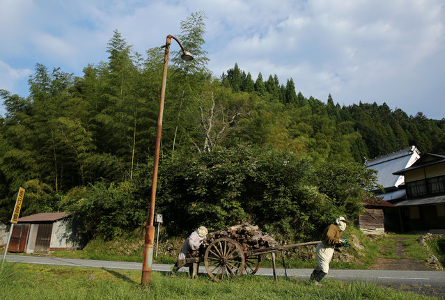 An illustration showing scarecrows pulling a firewood cart beside a road is on display at Kakashi no Sato, or the Scarecrow's Hometown on September 10, 2014 in Himeji, Japan. (Photo by Buddhika Weerasinghe/Getty Images)