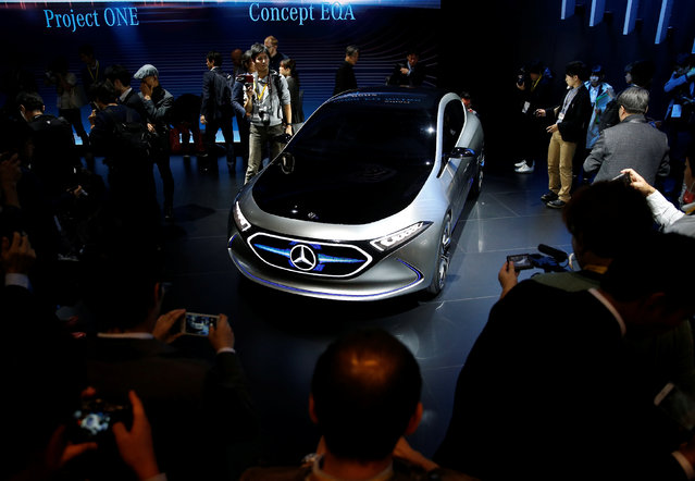 Mercedes Concept EQA is displayed during media preview of the 45th Tokyo Motor Show in Tokyo, Japan on October 25, 2017. (Photo by Toru Hanai/Reuters)