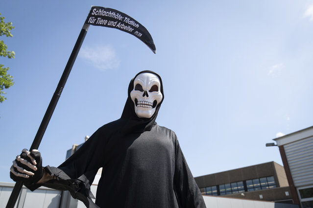 """An activist of the animal protection organization Peta disguised as death stands in front of a delivery entrance of the meat and sausage manufacturer Schulte in Dissen, Germany, Thursday, June 25, 2020. Schulte belongs to the Tönnies Group. Under the motto """"Slaughterhouses: Deadly for humans and animals"""", Peta wants to draw attention to the conditions in meat factories after the outbreak of the coronavirus at meat producers. (Photo by Friso Gentsch/dpa via AP Photo)"""
