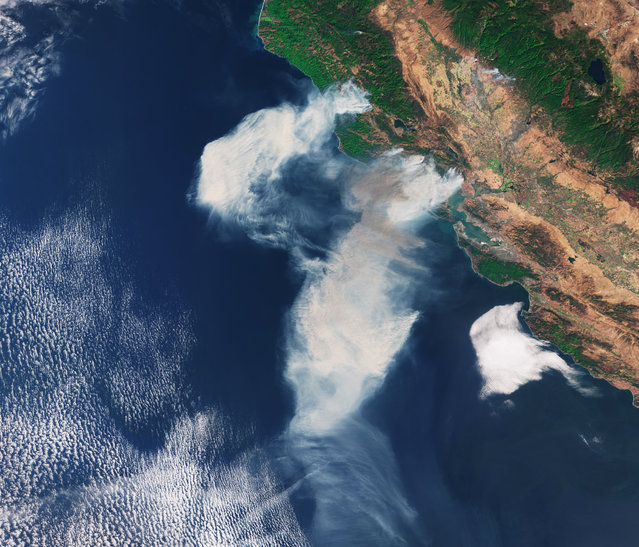 The Copernicus Sentinel-3A satellite captured this image of smoke from wildfires in the US state of California on 9 October 2017. Wildfires broke out in parts of the state on 8 October 2017 around Napa Valley, and the smoke was spread by strong northeasterly winds. (Photo by ESA)