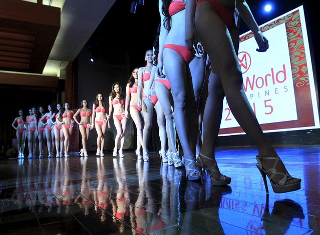 Contestants participate in the press presentation of the Miss World Philippines 2015 pageant at the Solaire Resort and Casino in Paranaque city, metro Manila September 29, 2015. (Photo by Romeo Ranoco/Reuters)