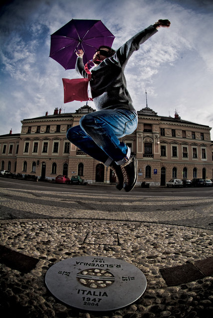 """Jumpology"". ""Jumping the border between Italy & Slo"". (Photo by Romano Bragutti)"
