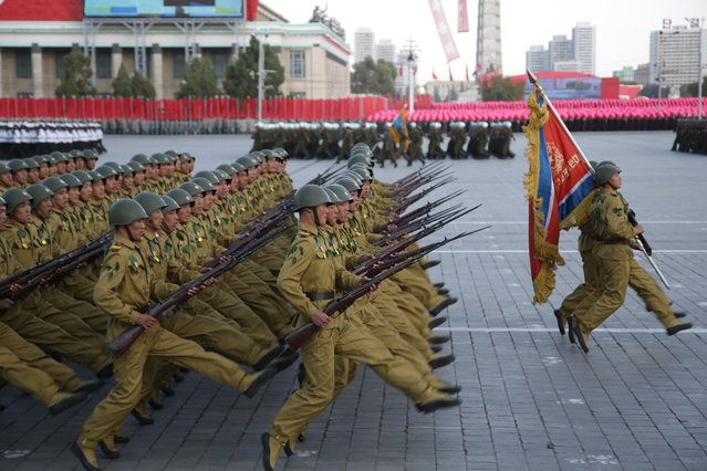 North Korean soldiers parade in Pyongyang, North Korea, Saturday, October 10, 2015. (Photo by Wong Maye-E/AP Photo)
