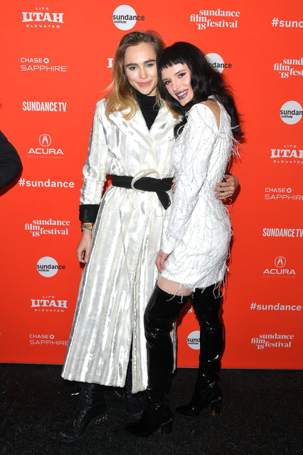 "Suki Waterhouse and Bella Thorne attend the ""Assassination Nation"" Premiere during the 2018 Sundance Film Festival at Park City Library on January 21, 2018 in Park City, Utah. (Photo by George Pimentel/Getty Images)"