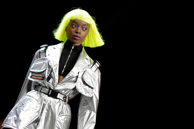 A model presents a creation from the Jeremy Scott Fall/Winter 2018 collection during NewYork Fashion Week, in New York, USA on February 9, 2018. (Photo by Eduardo Munoz/Reuters)