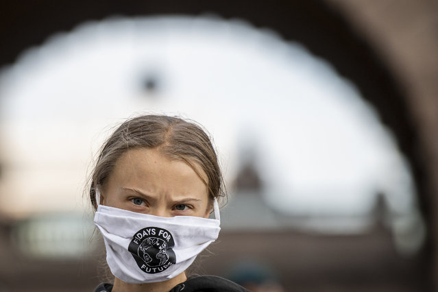 Swedish climate activist Greta Thunberg takes part in a Fridays For Future protest in front of the Swedish Parliament (Riksdagen) in Stockholm on September 25, 2020. (Photo by Jonathan Nackstrand/AFP Photo)