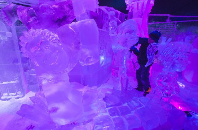 Sculptor Kaspar Jiri of Czech Republic carves an ice sculpture at the Disney Dreams Ice Festival in Antwerp November 27, 2014. (Photo by Yves Herman/Reuters)