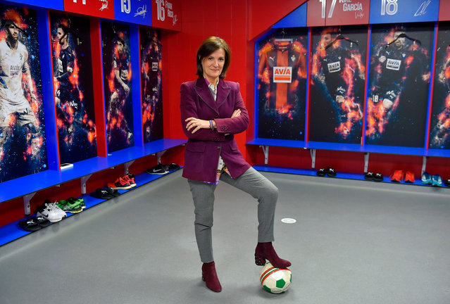 Amaia Gorostiza, 51, business woman and president of the SD Eibar football club poses for a picture in the locker room at the Ipurua stadium in Eibar, Spain on February 27, 2018. (Photo by Ander Gillenea/AFP Photo)
