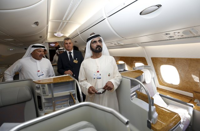 United Arab Emirates Vice President, Prime Minister and Dubai Ruler Sheikh Mohammed bin Rashid al-Maktoum (R) inspect the Airbus A380 during Dubai Airshow November 8, 2015. (Photo by Ahmed Jadallah/Reuters)