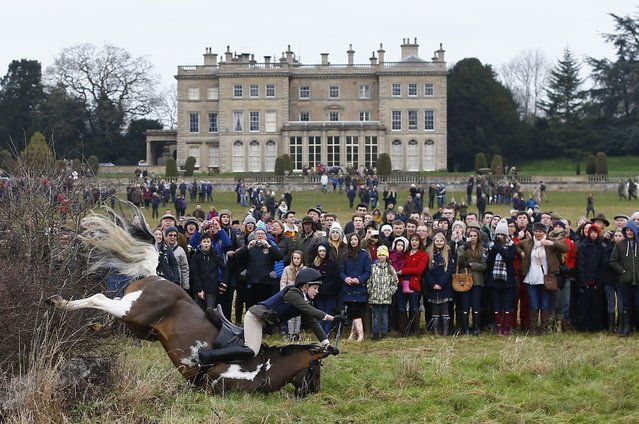 Spectators watch a member of the Quorn Hunt fall from their mount during the traditional Boxing Day meet at Prestwold Hall near Loughborough December 26, 2014. (Photo by Darren Staples/Reuters)