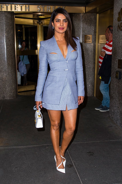 Priyanka Chopra is seen wearing Dion Lee in Midtown on May 2, 2018 in New York City. (Photo by Gotham/Getty Images)