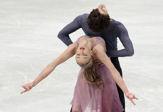 Alexandra Stepanova and Ivan Bukin, of Russia skate during their free dance during the European Figure Skating championships in Stockholm, Sweden, on Friday, January 30, 2015. (Photo by Ivan Sekretarev/AP Photo)