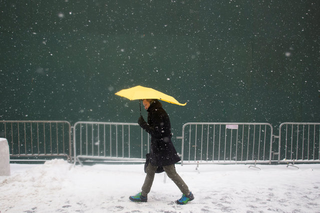 A man walks with an umbrella on a snowy day in Times Square Brooklyn, New York City, U.S., January 7, 2017. (Photo by Alex Wroblewski/Reuters)