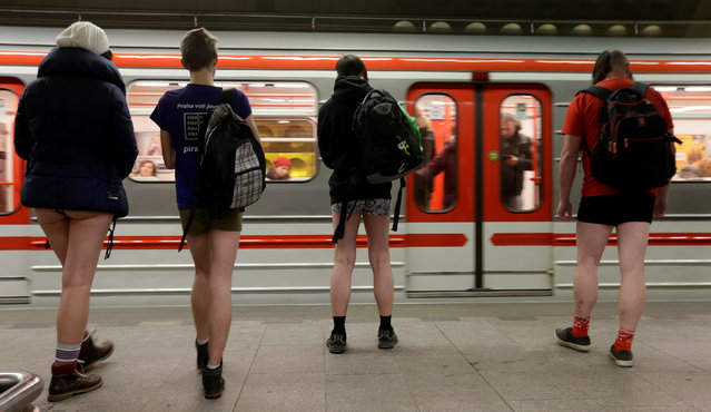 "Passengers not wearing pants wait for a subway during the ""No Pants Subway Ride"" in Prague, Czech Republic, January 8, 2017. (Photo by David W. Cerny/Reuters)"