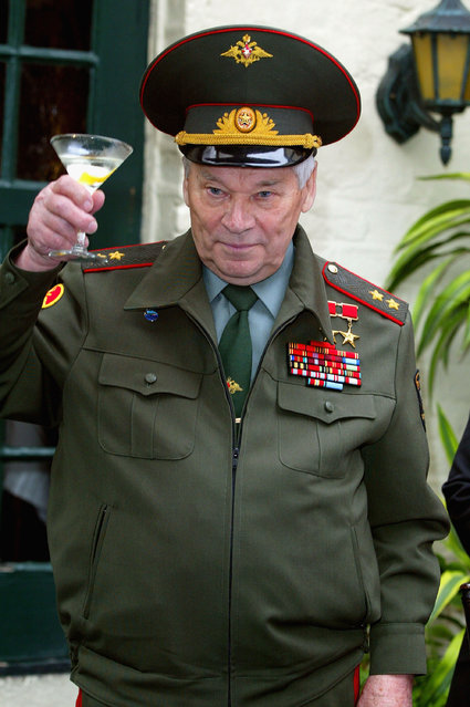 Inventor of the AK-47 assault rifle, General Mikhail Kalashnikov, launches the new brand of Kalashnikov Vodka, on September 20, 2004 in London, England. (Photo by Getty Images)
