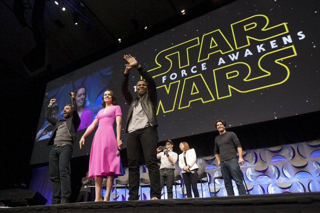 Star Wars: The Force Awakens cast members (L -R) Oscar Isaac, Daisy Ridley, John Boyega, writer, director and producer J.J. Abrams, producer Kathleen Kennedy and show host Anthony Breznican appear at the kick-off event of the Star Wars Celebration convention in Anaheim, California, April 16, 2015. (Photo by David McNew/Reuters)