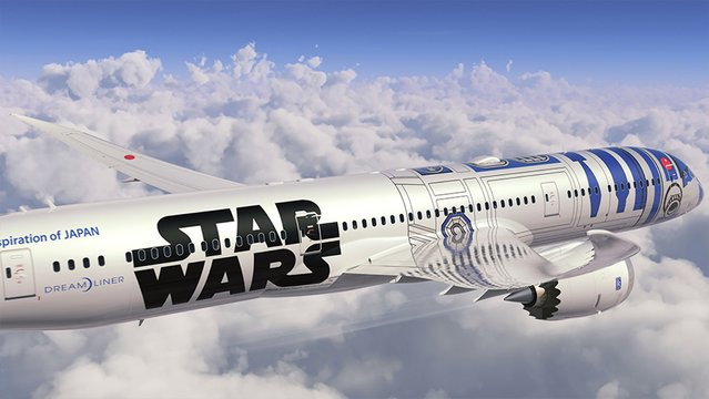 This artist image released from Japan's airline All Nippon Airways (ANA) on April 17, 2015 shows ANA's Boeing 787-9 aircraft into the colors of R2-D2 robot of Star Wars. Japanese air carrier ANA will place the special colored jetliner in service in this autumn. (Photo by AFP Photo/All Nippon Airways)