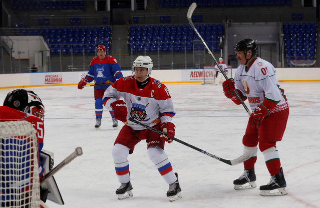 Russian President Vladimir Putin and Belarusian President Alexander Lukashenko (R) play an ice hockey game at Shayba Arena in the Black Sea resort of Sochi, Russia February 15, 2019. (Photo by Sergei Chirikov/Pool via Reuters)