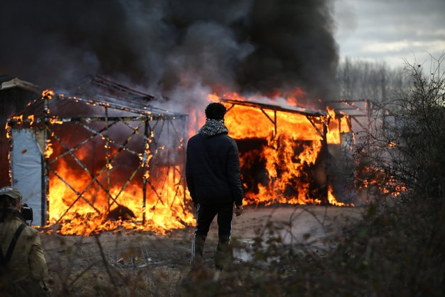 "A migrant watches as a hut burns as police officers clear part of the ""Jungle"" migrant camp on February 29, 2016 in Calais, France  The French authorities have begun dismantling part of the migrant encampment in the northern French town of Calais and relocating people to purpose-built accommodation nearby. (Photo by Carl Court/Getty Images)"