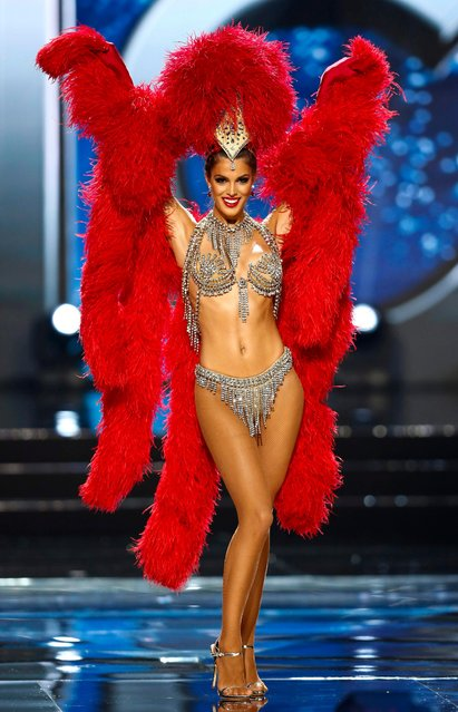 Miss Universe candidate Iris Mittenaere from France walks on stage in her national costume during the Miss Universe preliminary show at the Mall of Asia Arena in Pasay City, south of Manila, Philippines 26 January 2017. A total of 86 candidates are vying for the 65th Miss Universe crown, with the coronation event scheduled for 30 January. (Photo by Rolex Dela Pena/EPA)