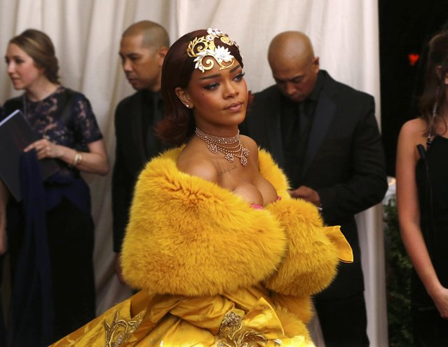 """Rihanna arrives at the Metropolitan Museum of Art Costume Institute Gala 2015 celebrating the opening of """"China: Through the Looking Glass"""" in Manhattan, New York May 4, 2015. (Photo by Lucas Jackson/Reuters)"""