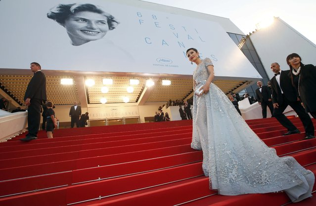"Actress Li BingBing poses on the red carpet as she arrives for the screening of the film ""The Sea of Trees"" in competition at the 68th Cannes Film Festival in Cannes, southern France, May 16, 2015. (Photo by Eric Gaillard/Reuters)"
