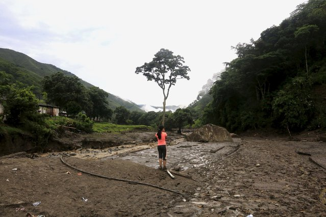 A woman looks from a site with homes which were destroyed after a landslide close to the municipality of Salgar in Antioquia department, Colombia May 19, 2015. (Photo by Jose Miguel Gomez/Reuters)
