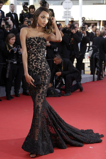 Model Jourdan Dunn poses for photographers upon arrival for the screening of the film The Little Prince at the 68th international film festival, Cannes, southern France, Friday, May 22, 2015. (Photo by Joel Ryan/Invision/AP Photo)